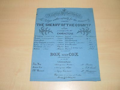 1855 Original Theatre Poster For Theatre-Royal Liverpool The Sheriff Of County