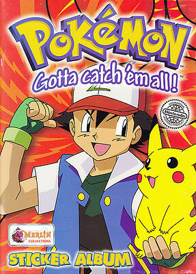 POKEMON MERLIN STICKER ALBUM With Poster SERIES 1 RED Cover 48 page Unused.
