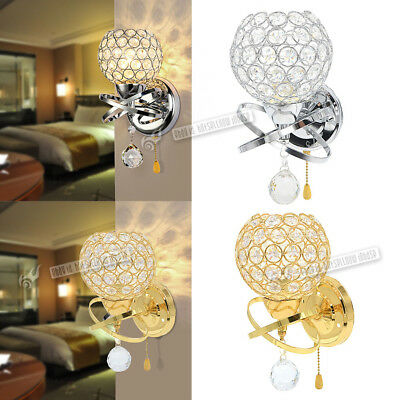Modern Indoor Chrome Crystal LED Wall Light Lamp Sconce Fixtures Bedroom Hallway