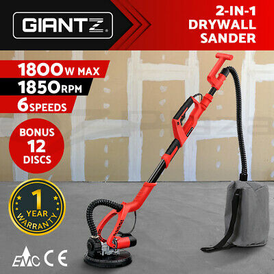 Giantz NEW Drywall Sander Plaster Board Dust Free Dry Wall Gyprock With Vacuum