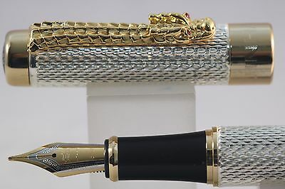 Jinhao No. 1200 Silver Chiselled Dragon Medium Fountain Pen with Gold Trim