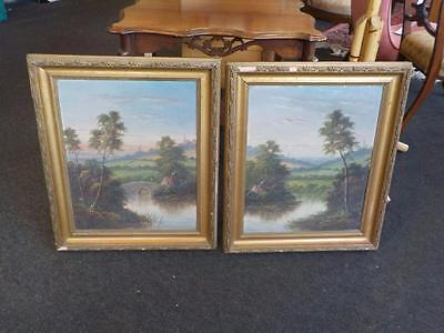 Antique Pair Of Oil On Canvas Pictures In Gold Gilt Frames Watsons Kingslynn