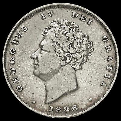 1826 George IV Milled Silver Shilling, VF