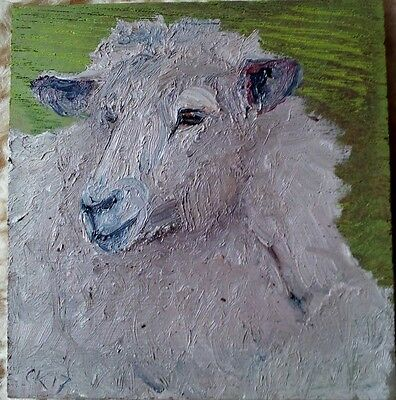 Oil Painting Folk Art Sheep Face On Wood   Cheryl Korb