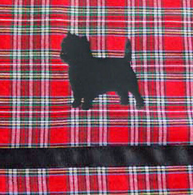 Cairn Terrier Dog Window Valance Red Plaid w/ black dogs and ribbon Sample SALE