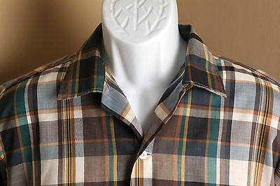 Men's Vintage blue, green & brown plaid Penney's loop collar camp shirt MT Tall