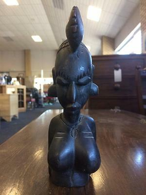 African Ebonised Wooden Miniature African Lady Bust/ Statute