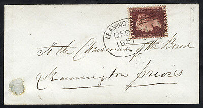 1857 envelope with 'Leamington 444' spoon cancellation . . .