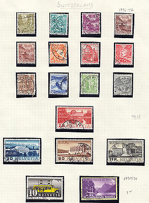 SWITZERLAND 1933-42 LOT/18 STAMPS, F-VF, USED on ALBUM PAGE