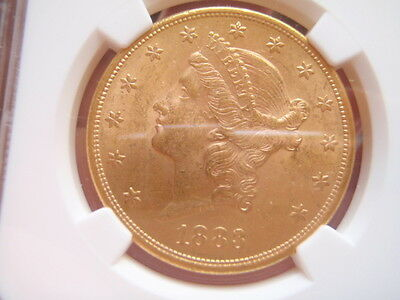 1883 S Uncirculated $20 Gold Liberty Double Eagle Coin NGC Graded MS 62