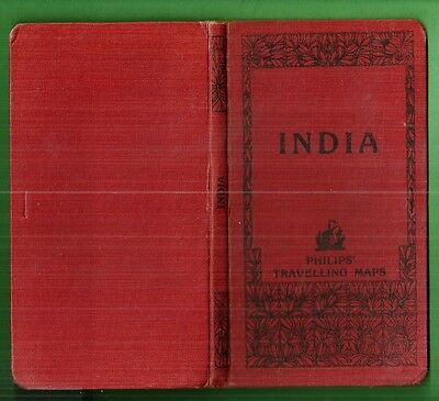 Vintage LONDON GEOGRAPHICAL PHILIPS' TRAVELING MAP INDIA & EASTERN PROVINES