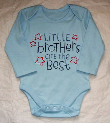 Baby Boy Little Brothers Are The Best LS  Bodysuit 3 6 9 12 18 24 Mths Bnwt