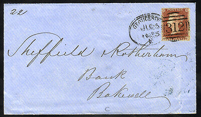 1855 envelope to Bakewell with 'Gloucester 312' spoon cancellation . . .