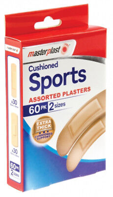 Masterplast Cushioned Assorted Sports Plasters Pack Of 60 Extra Thick Plaster