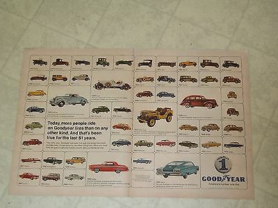 """1966 Goodyear Tires History of Cars Magazine Ad Double Page 13 1/2"""" x 20 1/2"""""""