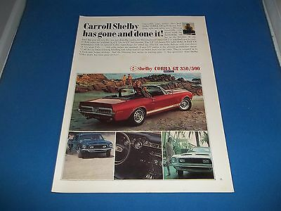1967 Ford Shelby Cobra G.T. 350 / 500 Carroll Shelby Magazine Ad