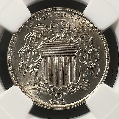 1866 5C Shield Nickel NGC MS66+ With Rays      3814839-006c