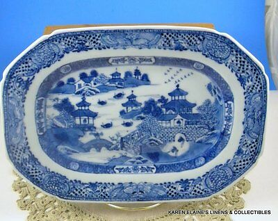 Small Vegetable Dish Small Rim Canton Chinese Export Porcelain