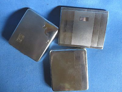 Lot of Three (3) Beautiful Vintage CIGARETTE Cases Silver Metal