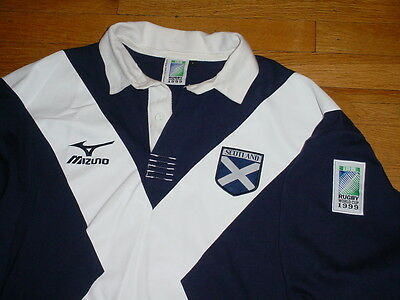 Authentic Mizuno Scotland iRB 1999 Rugby World Cup Jersey Navy/White Large Nice!