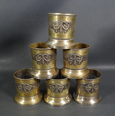 Antique Art Deco Austrian Silver&Brass Tea/Coffee Cup holder Coaster Set Caddy
