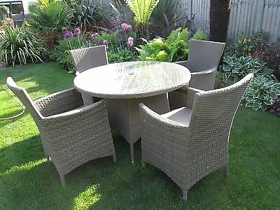 Quality Hartman Rattan Garden Furniture Set, 4 Chairs, Table And Cushions Vgc