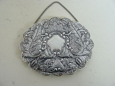 Vintage 900 Sterling Silver Turkish Wedding Mirror W/ Chain Repousse Decoration