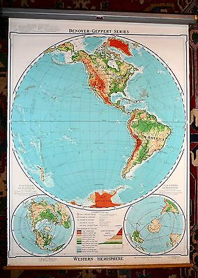 Vintage 1964 Denoyer-Geppert 45X60 Pull Down Map PHYSICAL WESTERN HEMISPHERE