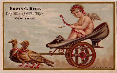 Edwin C Burt New York Cupid in Giant Shoe Pulled by Pigeons Victorian Trade Card