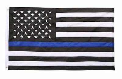 NAF Imports Thin Line American Flag, Blue Durable-Double Stitching