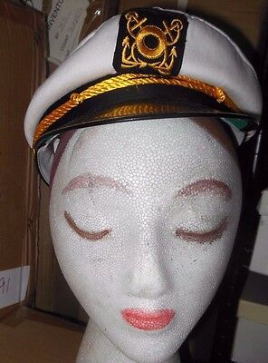 NEW COSTUME Hats Lot of 5 Yacht Captains Hat White Gold Patent black brim
