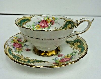 Royal Stafford Tea Cup And Saucer Green & Gold Rose Gloria Pattern Teacup