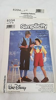 Simplicity 8334 Walt Disney Pinocchio Geppetto Costumes Youth Kids 2-4 toddler