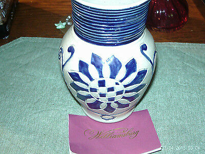 Cobalt Blue Decorated Stoneware Jug Mug Williamsburg Restoration