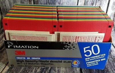 Imation IBM Formatted 2HD High Density Diskettes Floppy 1.44 MB Package of 50