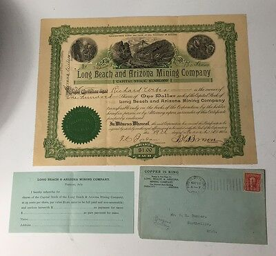 Antique 1906 Long Beach and Arizona Mining Company Stock Certificate 100 Shares