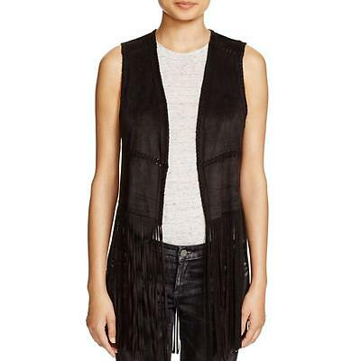 Blank NYC 6030 Womens Black Faux Suede Fringe Open Front Casual Vest S BHFO