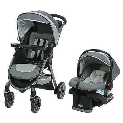 Graco FastAction Fold 2.0 Stroller and SnugRide Car Seat Travel System, Mason