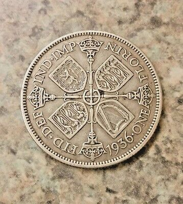 Great Britain UK 1936 One Florin George V Silver Coin