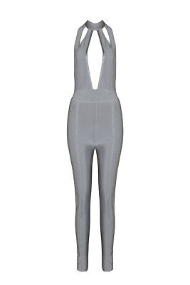 Honey Couture CORA Grey Halter Cut Out Bandage Jumpsuit in Grey