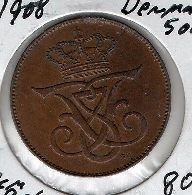 1908 Denmark 5 Ore. Very nice looking coin. Includes Free shipping in US.