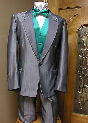 40R Silver Tuxedo Jacket One Button Formal Steampunk Dance Cosplay Prom Wedding