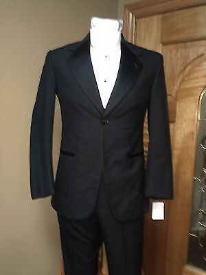 Black 36S Tuxedo Jacket 100% Wool Notch Collar Formal Steampunk Dance Prom Band