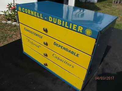 Cornell-Dubilier Capacitors Vintage Advertiser Metal Cabinet Drawers Tube Days