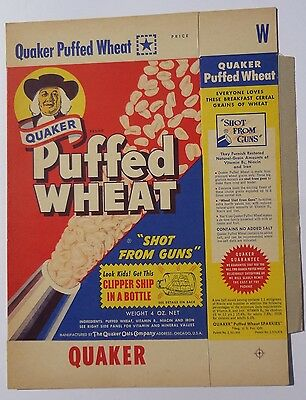 1956 Quaker Puffed Wheat Cereal Box mint Flat Gabby Hayes Clipper Ship in Bottle