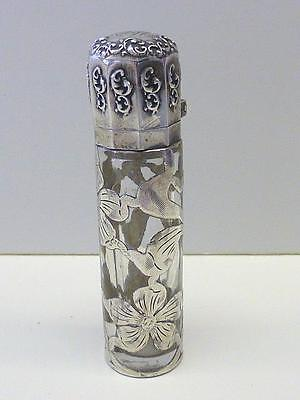 Victorian La Pierre Perfume Scent Bottle Sterling Silver Overlay FLOWER MCM