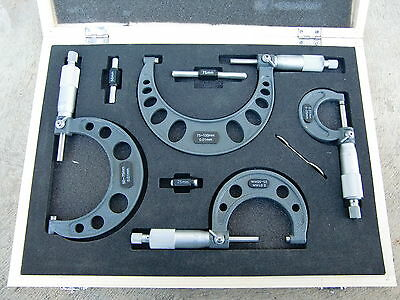 New 4Pce (0-25-50-75-100mm) Outside Micrometer Set