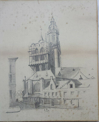 CONTINENTAL TOWN VIEW - BEAUTIFUL ORIGINAL 19th CENTURY PENCIL DRAWING