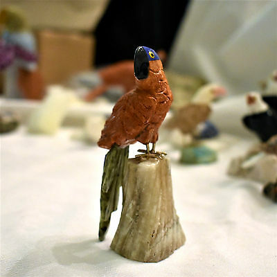 Carved Red Jasper Stone Macaw Parrot, Peru, Handcrafted 3.75 Inches High