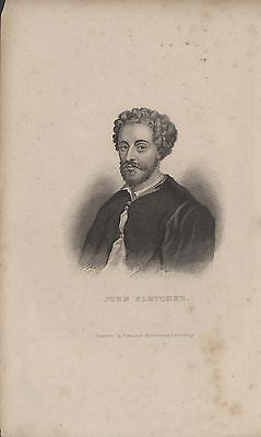 JOHN FLETCHER (PLAYWRIGHT) - ORIGINAL 19th CENTURY ANTIQUE STIPPLE ENGRAVING